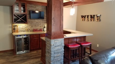 Basement Bar & Corner Fireplace